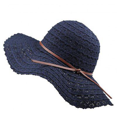 Summer Blue Lace Hollowed Out Holiday Sunscreen with Simple Bow Beach Hat