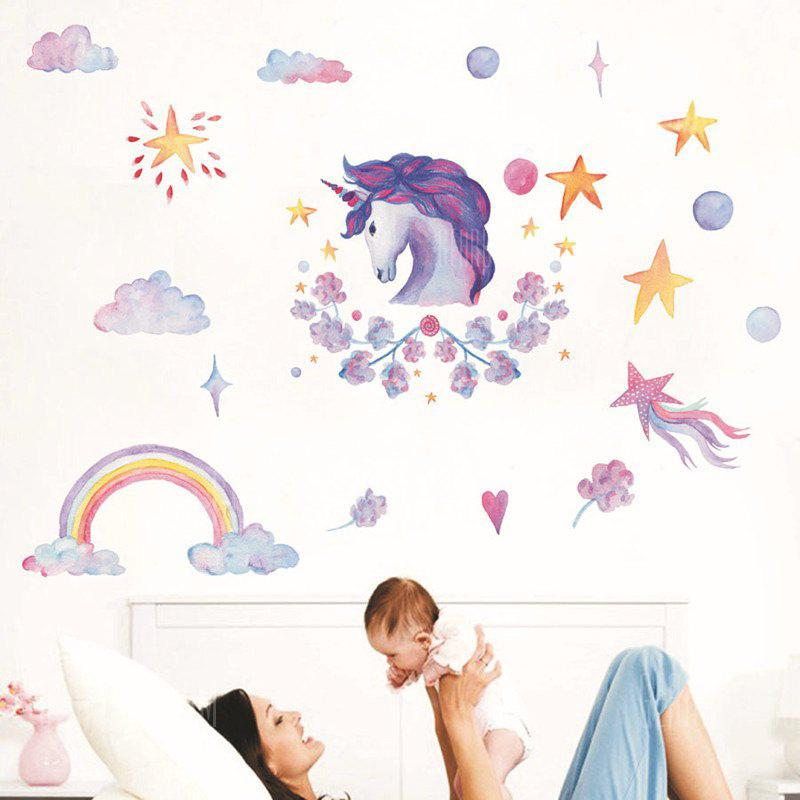 Crayon Style Wallpaper Stickers Removable Unicorns Rainbow Clouds Stars, MULTI, Home & Garden, Home Decors, Wall Art, Wall Stickers