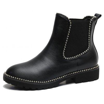 Metal Beads Trim Elasticity PU Ankle Boots
