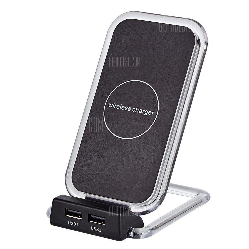 QI Wireless Charger Charging Stand With Dual Charging Via USB Adapter for iPhone