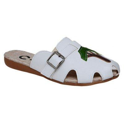 """Indoor Baotou Anti-Slip Home Summer ShoesSlippers &amp; Flip-Flops<br>Indoor Baotou Anti-Slip Home Summer Shoes<br><br>Available Size: 36 37 38 39 40<br>Embellishment: Buckle<br>Gender: For Women<br>Heel Height Range: Flat(0-0.5"""")<br>Heel Type: Flat Heel<br>Insole Material: PU<br>Leather Style: Patent Leather<br>Lining Material: Polyester<br>Outsole Material: Rubber<br>Package Contents: 1 x Shoes (pair)<br>Pattern Type: Plant<br>Season: Spring/Fall, Summer<br>Shoe Width: Medium(B/M)<br>Slipper Type: Outdoor<br>Style: Leisure<br>Technology: Adhesive<br>Upper Material: PU<br>Weight: 1.3200kg"""