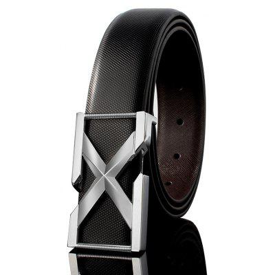 ZHAXIN 3005 3D X-Shaped Metal Clasp Embellished PU Leather Wide Belt
