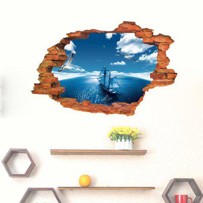 Buy 3D Creative Sailing Boat Landscape Wall Sticker Removable, MULTI, 1PC, Home & Garden, Home Decors, Wall Art, Wall Stickers for $17.23 in GearBest store
