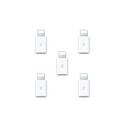 5pcs Micro USB to 8 Pin Adapter for Apple iPhone X / 8 / Plus / 7 / 7 Plus / 6