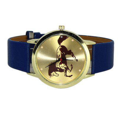 PU Leather Band Animal Horse Men Quartz WatchMens Watches<br>PU Leather Band Animal Horse Men Quartz Watch<br><br>Available Color: Gold and Black<br>Band material: Leather<br>Case material: Stainless Steel<br>Clasp type: Pin buckle<br>Display type: Analog<br>Movement type: Quartz watch<br>Package Contents: 1 x Watch<br>Package size (L x W x H): 24.00 x 4.00 x 0.80 cm / 9.45 x 1.57 x 0.31 inches<br>Package weight: 0.0510 kg<br>Product size (L x W x H): 23.00 x 3.90 x 0.70 cm / 9.06 x 1.54 x 0.28 inches<br>Product weight: 0.0450 kg<br>Shape of the dial: Round<br>Watch style: Cool, Business, Fashion, Casual<br>Watches categories: Men,Male table<br>Water resistance: Life water resistant