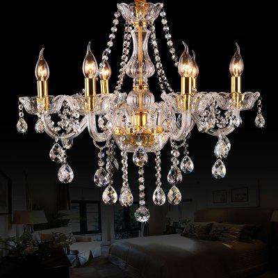 Extravagant 6 Head Candle Crystal ChandeliersPendant Light<br>Extravagant 6 Head Candle Crystal Chandeliers<br><br>Battery Included: No<br>Bulb Base: E14<br>Certifications: 3C<br>Chain / Cord Adjustable or Not: Chain / Cord Adjustable<br>Chain / Cord Length ( CM ): 50<br>Color Temperature or Wavelength: Warm white :2700-3200K<br>Decoration Material: Crystal<br>Features: Crystal<br>Fixture Height ( CM ): 60<br>Fixture Length ( CM ): 58<br>Fixture Material: Crystal<br>Fixture Width ( CM ): 58<br>Light Source Color: Warm White<br>Package Contents: 1 x Chandelier<br>Package size (L x W x H): 60.00 x 60.00 x 45.00 cm / 23.62 x 23.62 x 17.72 inches<br>Package weight: 7.5000 kg<br>Product size (L x W x H): 58.00 x 58.00 x 60.00 cm / 22.83 x 22.83 x 23.62 inches<br>Product weight: 7.0000 kg<br>Shade Material: No<br>Stepless Dimming: No<br>Style: Artistic Style<br>Suggested Room Size: 10 - 15?,15 - 20?,20 - 30?,5 - 10?<br>Suggested Space Fit: Bedroom,Cafes,Dining Room,Living Room<br>Type: Chandeliers<br>Voltage ( V ): 220V