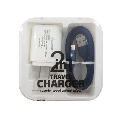 F121 8 Pin USB Cable 2USB Portable Travel Wall Charger Adapter US Plug Phone ujoin travel portable us plug power adapter micro usb charging cable black blue 100 240v