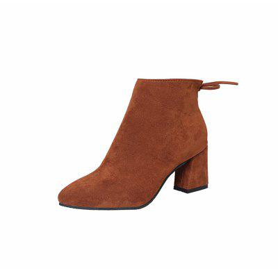 Thick with Women'S Middle and Pointed Side Zipper Martin Boots