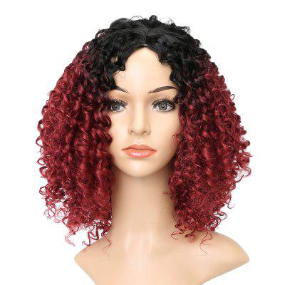 Wine Red Dark Root Afro Kinky Curly Synthetic Hair Wigs for African American