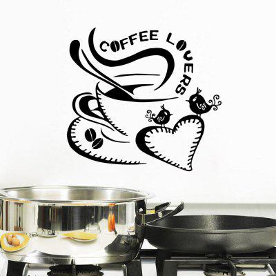 Coffee Lovers Quote Wall Sticker Love Heart Coffee Cute Birds Vinyl Decals