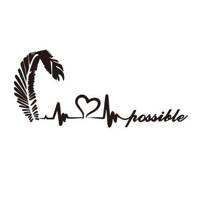Feather Love Heart Wall Stickers Nothing is Impossible Quote Wall Decals