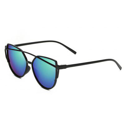Buy Women Metal Frame Mirrored Oversized Cat Eye Glasses Eyewear Sunglasses, GREENISH BLUE, Apparel, Glasses, Stylish Sunglasses, Men's Sunglasses for $5.99 in GearBest store