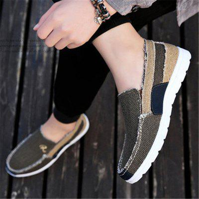 Men Canvas Letter Slip On Soft Sole Casual ShoesFlats &amp; Loafers<br>Men Canvas Letter Slip On Soft Sole Casual Shoes<br><br>Available Size: 39-44<br>Closure Type: Elastic band<br>Embellishment: Letter<br>Gender: For Men<br>Occasion: Casual<br>Outsole Material: Rubber<br>Package Contents: 1 x Pair of Shoes<br>Pattern Type: Patchwork<br>Season: Summer, Spring/Fall<br>Toe Shape: Square Toe<br>Toe Style: Closed Toe<br>Upper Material: Canvas<br>Weight: 1.2000kg