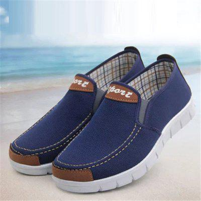 Men Flat Heel Canvas Casual ShoesFlats &amp; Loafers<br>Men Flat Heel Canvas Casual Shoes<br><br>Available Size: 39-44<br>Closure Type: Elastic band<br>Embellishment: Letter<br>Gender: For Men<br>Occasion: Casual<br>Outsole Material: Rubber<br>Package Contents: 1 x Pair of Shoes<br>Pattern Type: Patchwork<br>Season: Summer, Spring/Fall<br>Toe Shape: Square Toe<br>Toe Style: Closed Toe<br>Upper Material: Cotton Fabric<br>Weight: 1.2000kg