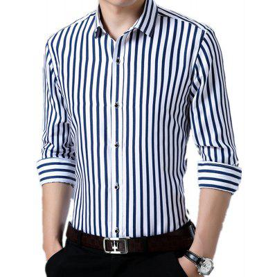 Men's Printed Long Sleeve with Vertical Stripes Shirt