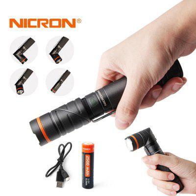 NICRON B75 CREE XP-G2 S2 300LM Magnet 90 Rechargeable Twist Flashlight with UV LightLED Flashlights<br>NICRON B75 CREE XP-G2 S2 300LM Magnet 90 Rechargeable Twist Flashlight with UV Light<br><br>Available Light Color: White,Purple<br>Battery Included or Not: Yes<br>Battery Quantity: 1<br>Battery Type: 18650<br>Beam Distance: 50-100m<br>Body Material: Aluminium Alloy<br>Color: Dark Gray<br>Color Temperature: 5000K~8000K<br>Emitters: Cree XP-G2 S2<br>Emitters Quantity: 2<br>Feature: Pocket Clip, Anti-Roll Rugged Design, Jade Identification, Angle Head, Low-voltage Warning, Magnetic, Adjustable brightness, Charging indicator, Rechargeable, Waterproof, Portable, Professional<br>Flashlight Processing Technology: Aerospace Grade Aluminum Body with Anti Scratching Type III Hard Anodization<br>Flashlight size: EDC,Full Size<br>Flashlight Type: UV,Safety,Security,Angle<br>Function: Scorpion Finder, Search, Military and Tactical, EDC, Rescue, Amber Identification, Identification Jewelry, Exploring, Emergency, Camping, Purple, Work, Currency Detection, Seeking Survival<br>Impact Resistance: 1M<br>LED Lifespan: 50000hours<br>Lens: Toughened Ultra-clear Glass Lens with Anti-reflective Coating<br>Light color: Purple, White light<br>Light Modes: UV<br>Lumens Range: 200-500Lumens<br>Luminous Flux: 300Lumens<br>Luminous Intensity: 1600cd<br>Mode: Customized Brightness Levels and A Multitude of Functions<br>Model: B75<br>Package Contents: 1 x Flashlight , 1 x 18650Li-ion Battery , 1 x USB cable<br>Package size (L x W x H): 10.30 x 3.80 x 20.80 cm / 4.06 x 1.5 x 8.19 inches<br>Package weight: 0.3150 kg<br>Power: 5W<br>Power Source: Battery,Battery<br>Product size (L x W x H): 5.40 x 13.20 x 2.80 cm / 2.13 x 5.2 x 1.1 inches<br>Product weight: 0.2060 kg<br>Rechargeable: Yes<br>Reflector: Glossy Aluminum Reflector (High temperature industrial processes)<br>Switch Location: Side Switch<br>Waterproof Standard: IP65<br>Zooming Function: No