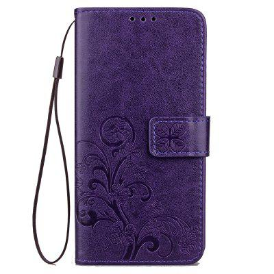 Yc Lucky Clover Holster Leaf Card Lanyard Pu Leather para Samsung C9