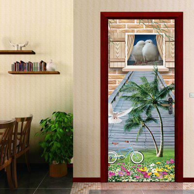 3D Birds House Large Tree with Little Beautiful Flowers Door Sticker Bicycle