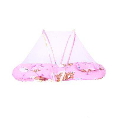Portable Folding and Free Installation with Pillow Soft Baby Mosquito Net Pink