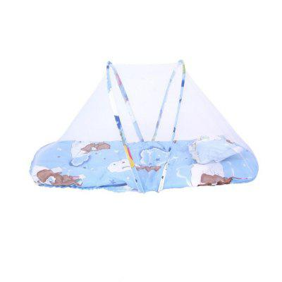 Portable Folding and Free Installation with Pillow Soft Baby Mosquito Net Blue