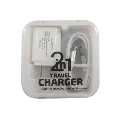 F121 Type-C USB Cable  Portable Travel Wall 2USB Charger Adapter US Plug Phone ujoin travel portable us plug power adapter micro usb charging cable black blue 100 240v