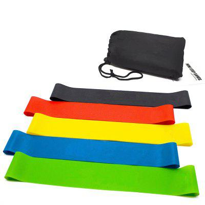 Set of 5 Natural Latex Exercise Resistance Loop Bands for Workout Training