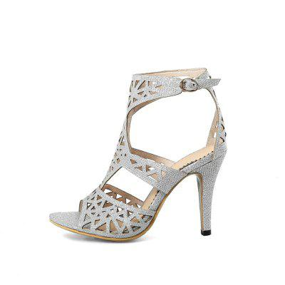 Hollowed Out High Heeled Sexy SandalsWomens Sandals<br>Hollowed Out High Heeled Sexy Sandals<br><br>Available Color: Pink, golden, silver<br>Available Size: 33.34.35.36.37.38.39.40.41.42.43<br>Closure Type: Buckle Strap<br>Gender: For Women<br>Heel Height: 9.5CM<br>Heel Height Range: High(3-3.99)<br>Heel Type: Stiletto Heel<br>Insole Material: PU<br>Lining Material: Synthetic<br>Occasion: Wedding<br>Outsole Material: Rubber<br>Package Content: 1xShoes(pair)<br>Pattern Type: Solid<br>Platform Height: 1xShoes(pair)<br>Sandals Style: Gladiator<br>Shoe Width: Medium(B/M)<br>Style: Sexy<br>Technology: Adhesive<br>Upper Material: Microfiber<br>Weight: 0.8500kg