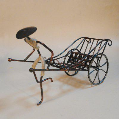Chinese Style Gift Creative Human Rickshaw Wine Rack Vintage Home Furnishings