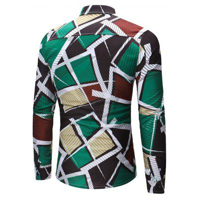 2018 New Men's Long Sleeve Geometric Print Shirt ethnic geometric print long sleeve shirt