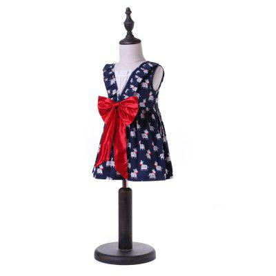 Yoyoxiu CX1122 - 2 Girls Sleeveless Bow Dress girls contrast panel sleeveless dress
