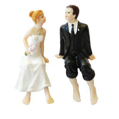 Sitting Barefoot Bride And Groom Doll Ornaments Decorated Cake Topper
