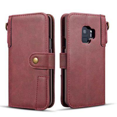 Premium Cowhide Leather Wallet Case with Lanyard for Samsung Galaxy S9 Plus