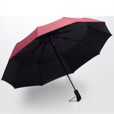 Red Black Glue Pure Color Anti Wind Automatic Thickening Umbrella