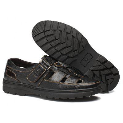 Men Hollow Breathable Hook Loop Genuine Leather ShoesMens Sandals<br>Men Hollow Breathable Hook Loop Genuine Leather Shoes<br><br>Available Size: 38-44<br>Closure Type: Buckle Strap<br>Embellishment: Hollow Out<br>Gender: For Men<br>Heel Hight: 1CM<br>Occasion: Casual<br>Outsole Material: Rubber<br>Package Contents: 1 x Pair of Shoes<br>Pattern Type: Patchwork<br>Sandals Style: T-Strap<br>Style: Novelty<br>Upper Material: Leather<br>Weight: 2.1000kg