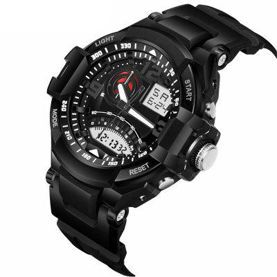 Men Analog-Digital Big Dial Sports WristwatchLED Watches<br>Men Analog-Digital Big Dial Sports Wristwatch<br><br>Band material: PU<br>Case material: ABS<br>Display type: Analog-Digital<br>Movement type: Quartz + digital watch<br>Package Contents: 1 x Watch<br>Package size (L x W x H): 28.00 x 6.00 x 3.60 cm / 11.02 x 2.36 x 1.42 inches<br>Package weight: 0.6500 kg<br>People: Male table<br>Product size (L x W x H): 26.00 x 4.00 x 1.60 cm / 10.24 x 1.57 x 0.63 inches<br>Product weight: 0.6000 kg<br>Shape of the dial: Round<br>Watch style: Business, Casual