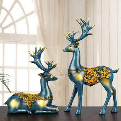 2PCS Resin Elk Decor Home Bedroom Crafts Decoration Personality Wedding Gift