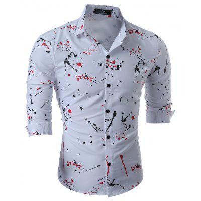 Mens Shirts Full of Printed Long Sleeve Shirt