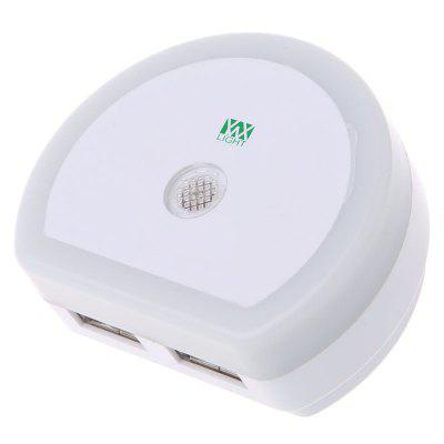 YWXLight LED Night Light With Dual USB Charger Plug Sensor Lamp AC 110 - 240VNight Lights<br>YWXLight LED Night Light With Dual USB Charger Plug Sensor Lamp AC 110 - 240V<br><br>Battery Quantity: NO Battery<br>Color Temperature or Wavelength: 6000 - 6500K<br>Connector Type: US plug<br>Features: Decorative, Sensor<br>Light Source Color: Cold White<br>Light Type: LED,Night Light,Indoor Light,LED Night Light,USB Lights<br>Package Contents: 1 x YWXLight Night Light<br>Package size (L x W x H): 6.30 x 5.30 x 4.50 cm / 2.48 x 2.09 x 1.77 inches<br>Package weight: 0.0390 kg<br>Plug Type: US plug<br>Power Source: AC<br>Product size (L x W x H): 6.00 x 2.50 x 2.50 cm / 2.36 x 0.98 x 0.98 inches<br>Product weight: 0.0320 kg<br>Production Models: Self-produce<br>Quantity: 1<br>Style: Artistic Style<br>Wattage: 2W