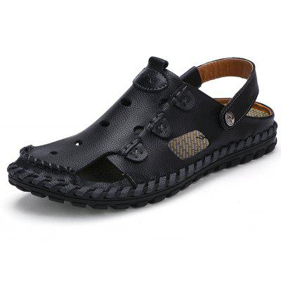 Men Casual Shoes Breathable Leather Slippers Sandals