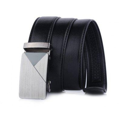 Men Business Textured Leather Belt with Automatic Buckle