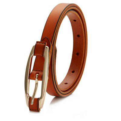 Women Solid Color All-match Genuine Leather Belted with Pin Buckle