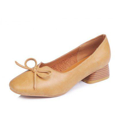 Blocked Heel Pump Pu Toe Flats - Apricot - 39