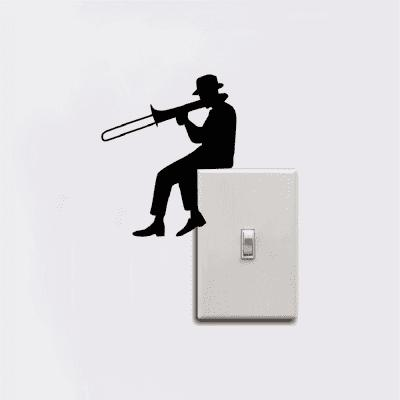 Man Playing Trombone Silhouette Light Switch Sticker Music Vinyl Wall StickersWall Stickers<br>Man Playing Trombone Silhouette Light Switch Sticker Music Vinyl Wall Stickers<br><br>Art Style: Plane Wall Stickers, Toilet Stickers<br>Color Scheme: Black<br>Function: Light Switch Stickers, Decorative Wall Sticker<br>Material: Paper, Vinyl(PVC)<br>Package Contents: 1 x wall sticker, 1 x transfer sheet<br>Package size (L x W x H): 12.00 x 10.10 x 0.01 cm / 4.72 x 3.98 x 0 inches<br>Package weight: 0.0012 kg<br>Product weight: 0.0010 kg<br>Quantity: 1<br>Sizes: Others<br>Subjects: People,Cartoon,Music,Flower,Fantasy<br>Suitable Space: Living Room,Dining Room,Hotel,Kids Room,Door,Corridor,Hallway,Kids Room,Boys Room<br>Type: Plane Wall Sticker