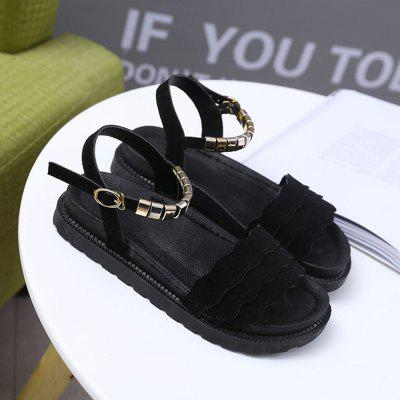 Material Suede Thread Flat ShoesWomens Casual Shoes<br>Material Suede Thread Flat Shoes<br><br>Available Size: 35 36 37 38 39<br>Closure Type: Buckle Strap<br>Embellishment: Metal<br>Flat Type: Slingbacks<br>Gender: For Women<br>Lining Material: PU<br>Occasion: Casual<br>Outsole Material: Rubber<br>Package Contents: 1xShoes(pair)<br>Pattern Type: Solid<br>Season: Summer<br>Shoe Width: ExtraNarrow(AAA+)<br>Toe Shape: Round Toe<br>Toe Style: Open Toe<br>Upper Material: Flock<br>Weight: 0.7938kg