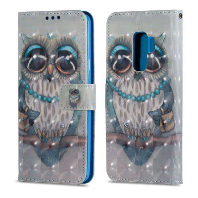 3D PU Leather Wallet Case for Samsung Galaxy S9 Plus Grey Owl Pattern