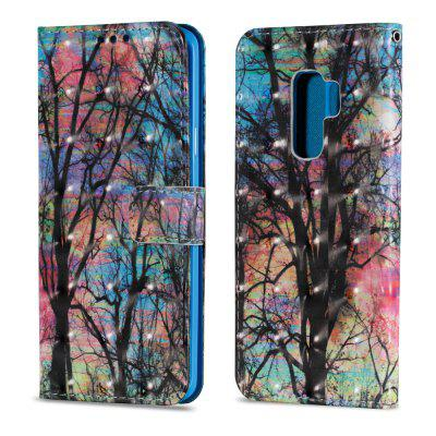3D PU Leather Wallet Case for Samsung Galaxy S9 Plus Color Tree Pattern