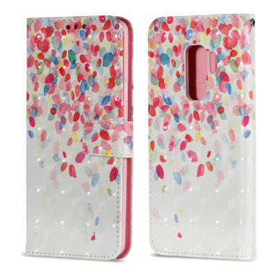 3D PU Leather Wallet Case for Samsung Galaxy S9 Plus Petals Pattern