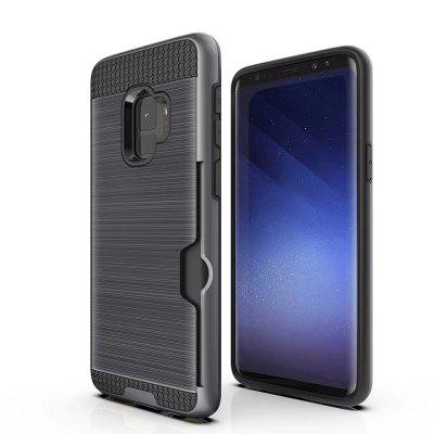 Card Slot Holder Heavy Duty Drop Protective Cover Case for Samsung Galaxy S9 brushed case phone holder with card slot for google pixel blue