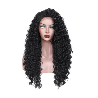Long Black Small Roll Chemical Fiber Front Lace Wig