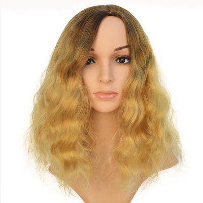 Black to Yellow Hair Dark Roots Long Curly Wigs Bob for All Women 14 inch